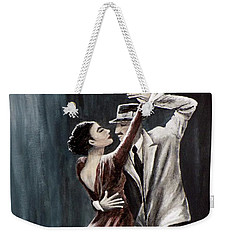 Weekender Tote Bag featuring the painting Forever Tango by Judy Kirouac