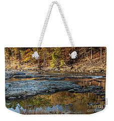 Weekender Tote Bag featuring the photograph Fork River Reflection In Fall by Iris Greenwell