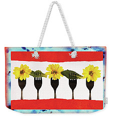 Forks And Flowers Weekender Tote Bag by Paula Ayers