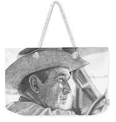 Former Pres. George W. Bush Wearing A Cowboy Hat Weekender Tote Bag by Michelle Flanagan