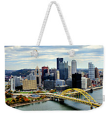 Fort Pitt Bridge Weekender Tote Bag by Michelle Joseph-Long