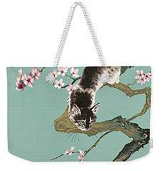 Fortune Cat In Cherry Tree Weekender Tote Bag