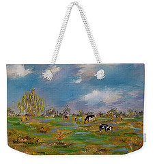 Weekender Tote Bag featuring the painting Forty Acres by Judith Rhue
