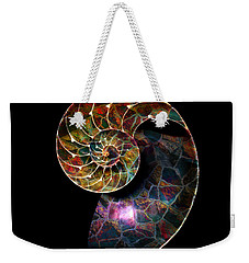 Weekender Tote Bag featuring the digital art Fossilized Nautilus Shell by Klara Acel