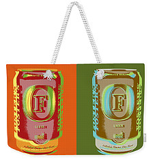 Weekender Tote Bag featuring the digital art Foster's Lager Pop Art by Jean luc Comperat