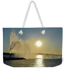 Weekender Tote Bag featuring the photograph Fountain At Sunrise  by Lyle Crump