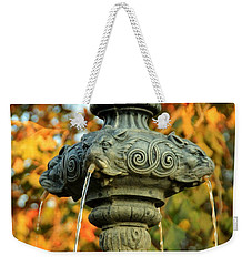 Weekender Tote Bag featuring the photograph Fountain At Union Park by Chris Berry