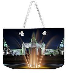 Weekender Tote Bag featuring the photograph Fountain In Parc Du Cinquantenaire - Brussels by Barry O Carroll