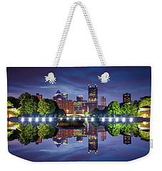 Weekender Tote Bag featuring the photograph Fountain Reflections  by Emmanuel Panagiotakis