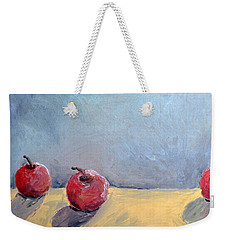 Weekender Tote Bag featuring the painting Four Apples by Michelle Calkins