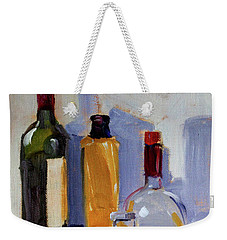 Weekender Tote Bag featuring the painting Four Bottles by Nancy Merkle