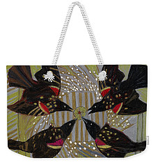 Weekender Tote Bag featuring the painting Four Calling Birds by Denise Weaver Ross