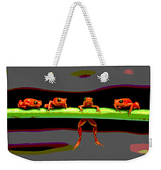 Weekender Tote Bag featuring the photograph Four Frogs by Charles Shoup
