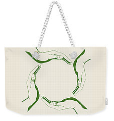 Four People Hands Making Circle Conceptual Round Green Eco Symbo Weekender Tote Bag