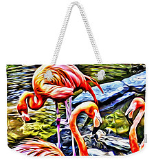 Four Pink Flamingos Weekender Tote Bag