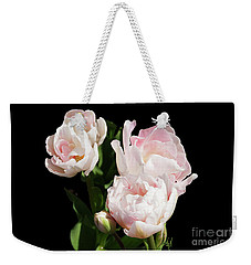 Four Pink Tulips And A Bud On Black Weekender Tote Bag