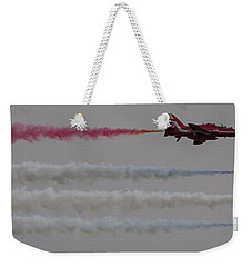 Weekender Tote Bag featuring the photograph Four Red Arrows Smoke Trail - Teesside Airshow 2016 by Scott Lyons