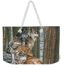Weekender Tote Bag featuring the painting Four Wolves by David Stribbling