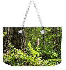 Weekender Tote Bag featuring the photograph Foxglove In The Woods by Jean Noren