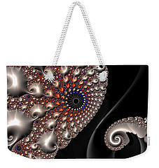 Weekender Tote Bag featuring the digital art Fractal Contact - Silver Copper Black by Matthias Hauser