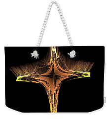 Weekender Tote Bag featuring the digital art Fractal Cross Golden And Yellow by Matthias Hauser