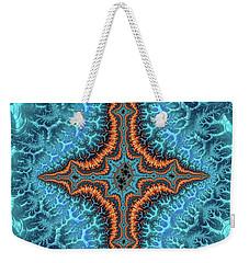 Weekender Tote Bag featuring the digital art Fractal Cross Turquoise And Orange by Matthias Hauser
