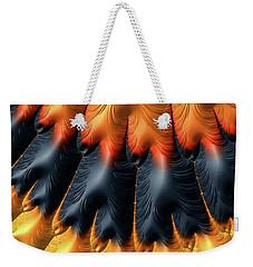 Weekender Tote Bag featuring the digital art Fractal Pattern Orange And Black by Matthias Hauser