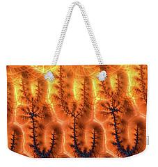 Weekender Tote Bag featuring the digital art Fractal Pattern Orange Brown Aqua Blue by Matthias Hauser