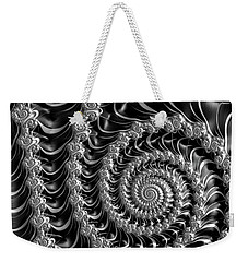 Fractal Spiral Gray Silver Black Steampunk Style Weekender Tote Bag by Matthias Hauser