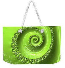 Weekender Tote Bag featuring the digital art Fractal Spiral Greenery Color by Matthias Hauser