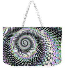Weekender Tote Bag featuring the digital art Fractal Spiral Hypnotizing Op Art by Matthias Hauser
