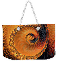 Weekender Tote Bag featuring the digital art Fractal Spiral Orange And Brown by Matthias Hauser
