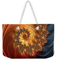 Weekender Tote Bag featuring the digital art Fractal Spiral Orange Golden Black by Matthias Hauser