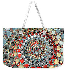 Fractal Spiral Red Grey Light Blue Square Format Weekender Tote Bag
