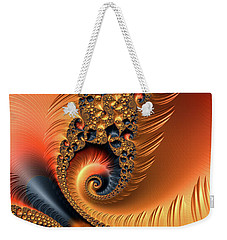 Weekender Tote Bag featuring the digital art Fractal Spirals With Warm Colors Orange Coral by Matthias Hauser
