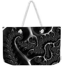 Weekender Tote Bag featuring the digital art Fractal Veins Black And White by Matthias Hauser