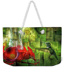 Fractured Hummingbird Weekender Tote Bag