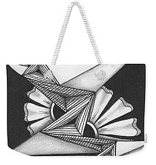 Weekender Tote Bag featuring the drawing Fractured by Jan Steinle