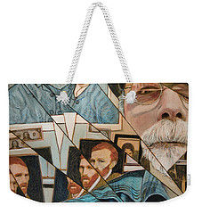 Weekender Tote Bag featuring the painting Fractured Lives by Ron Richard Baviello