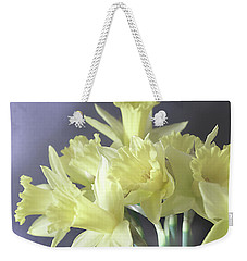 Weekender Tote Bag featuring the photograph Fragile Daffodils by Jacqi Elmslie