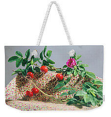 Weekender Tote Bag featuring the photograph Fragrant Rugosa Rose With Rosehips And Leaves by Nancy Lee Moran