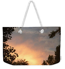 Weekender Tote Bag featuring the photograph Framed Fire In The Sky by Sandi OReilly