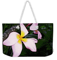 Weekender Tote Bag featuring the digital art Frangipani Moment by Winsome Gunning