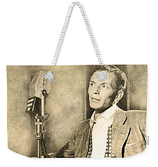 Weekender Tote Bag featuring the digital art Frank Sinatra Crooner by Anthony Murphy
