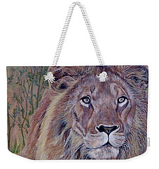 Weekender Tote Bag featuring the painting Frank by Tom Roderick