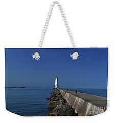 Frankfort Lighthouse In Michigan Weekender Tote Bag