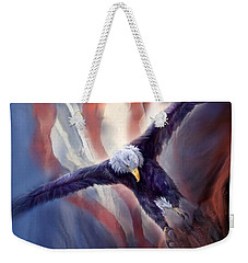 Weekender Tote Bag featuring the mixed media Freedom Eagle by Carol Cavalaris