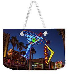 Weekender Tote Bag featuring the photograph Freemont East District Neon Signs From The West At Dawn Wide by Aloha Art