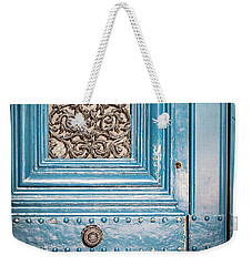 Weekender Tote Bag featuring the photograph French Blue - Paris Door by Melanie Alexandra Price