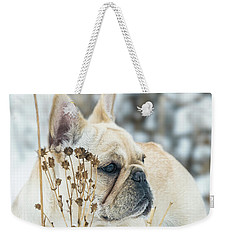 French Bulldog In The Snow Weekender Tote Bag